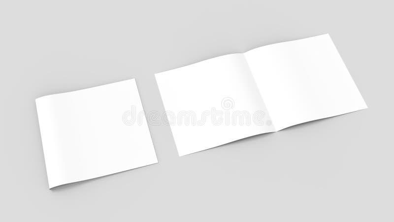 两褶的Spuare,半折叠小册子嘲笑 3D说明 皇族释放例证