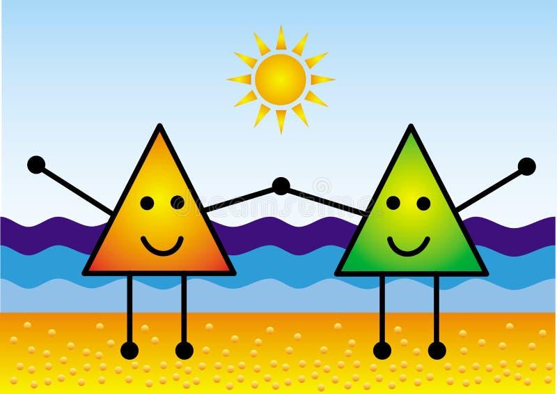 两象征性一点在海滩举行手上 ?? 以海为背景,太阳,沙子 库存例证