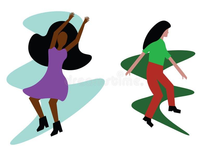 两跳舞的妇女的一个现代手拉的例证 向量例证
