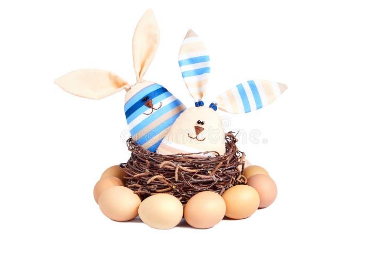 两软的玩具镶边微笑的兔子 库存图片