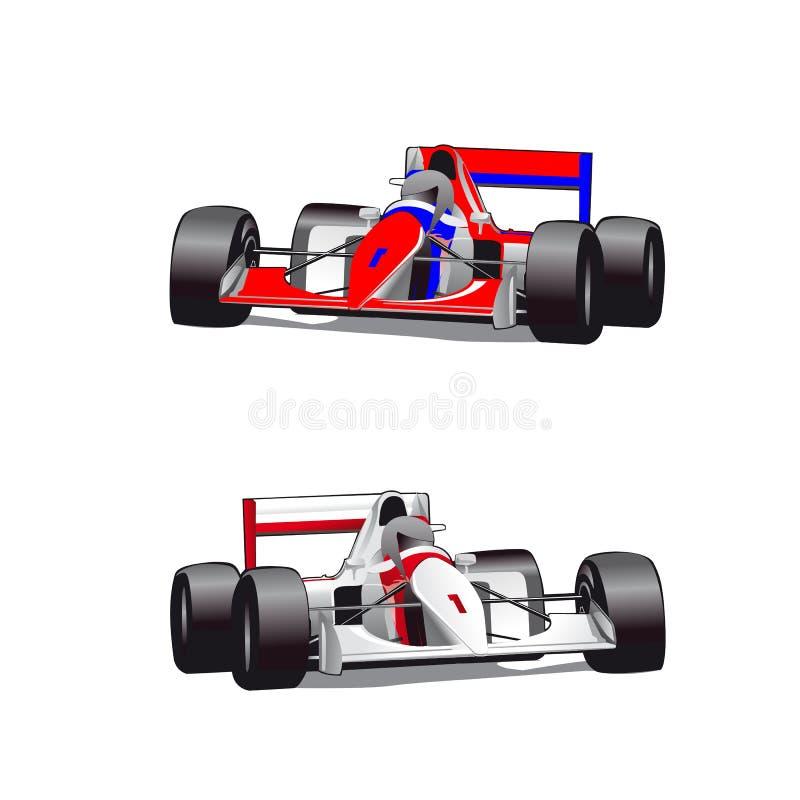 两辆猎犬汽车,惯例,在白色背景的动画片, 皇族释放例证