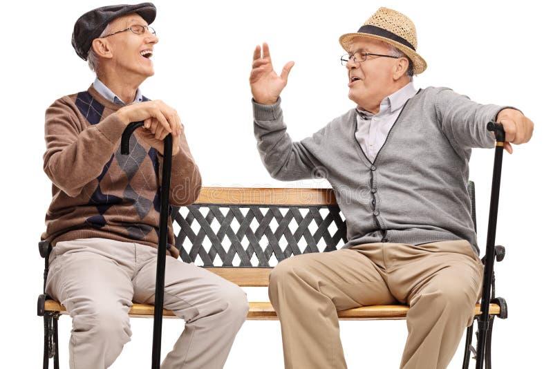 两退休了老年人坐长凳和笑 免版税图库摄影