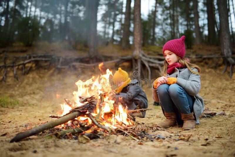 两逗人喜爱的少女由篝火坐冷的秋天天 孩子获得乐趣在阵营火 野营与孩子在秋天森林里 免版税图库摄影