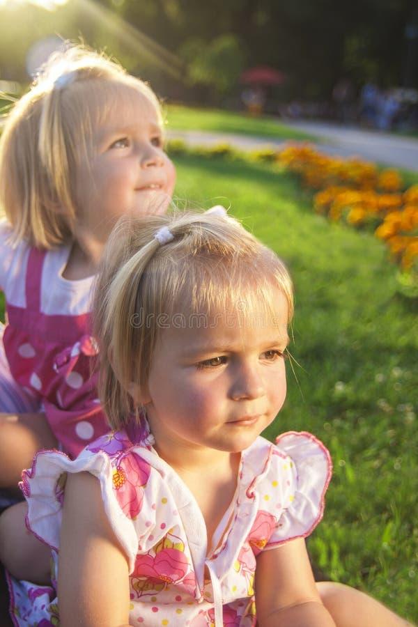 两逗人喜爱的矮小的孪生在公园 图库摄影