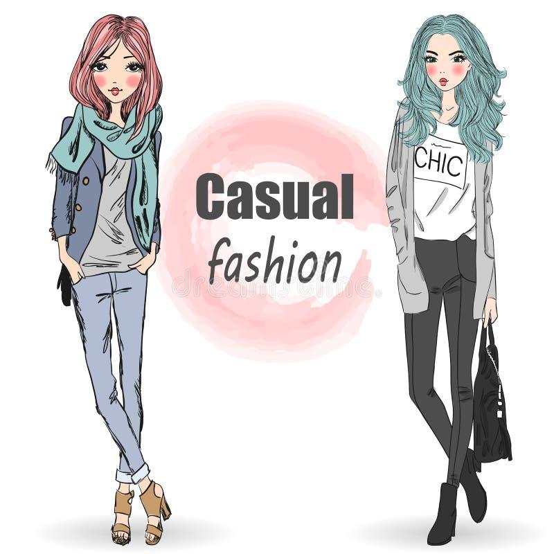 两逗人喜爱,时尚,动画片女孩 库存例证