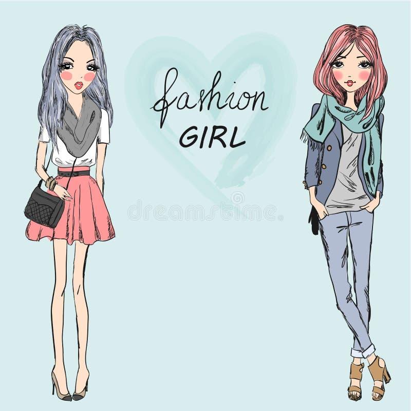 两逗人喜爱,时尚,动画片女孩 向量例证