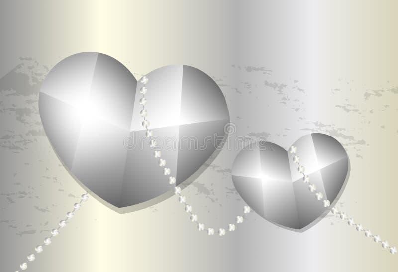 两金属心脏阻塞与在金属背景的链子 库存例证