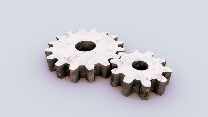 两金属齿轮 库存照片