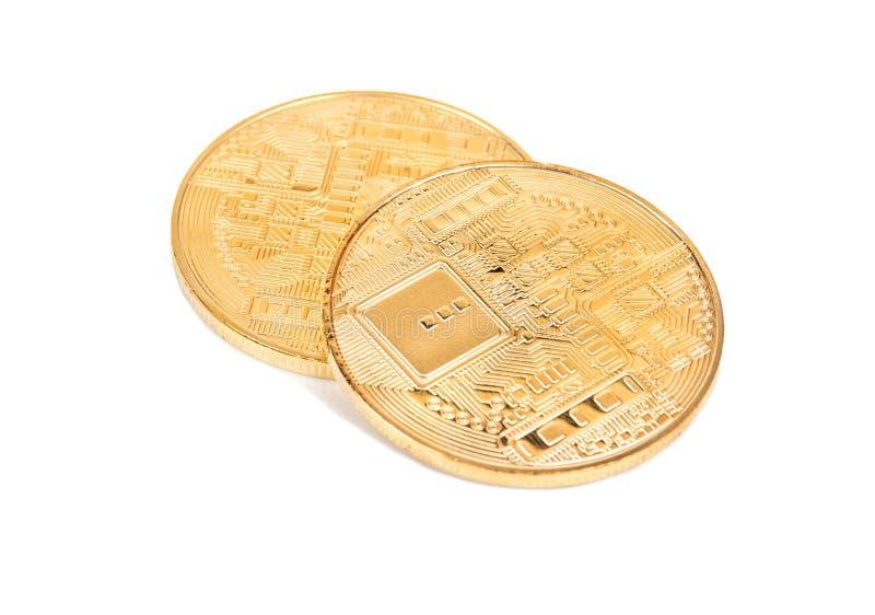 两金币bitcoins 库存图片