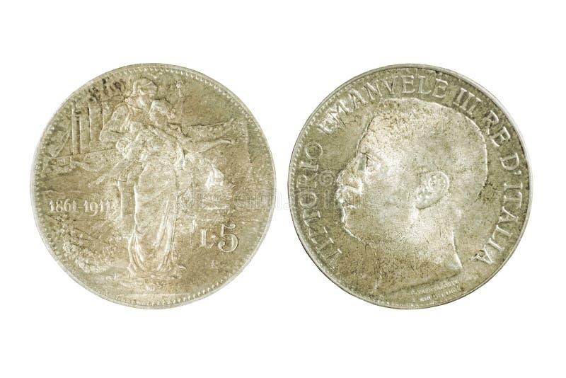 两银色意大利语的边在白色backgro隔绝的5里拉硬币 库存照片