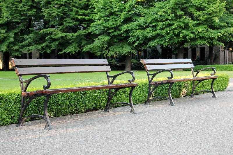两长木凳在绿色公园 图库摄影