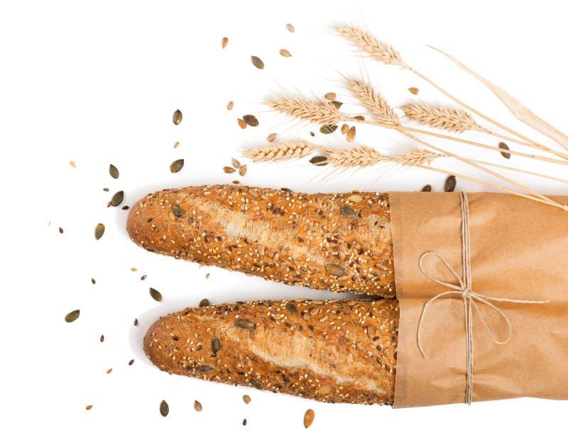 两面包用混合结晶母粒谷物 图库摄影
