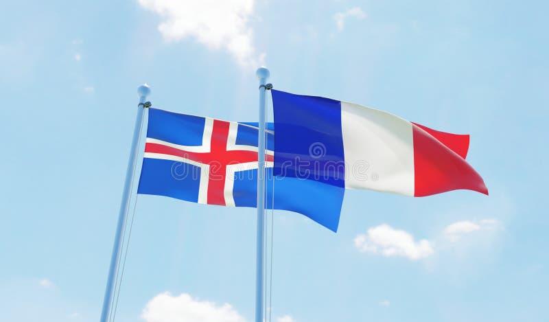 两面挥动的旗子 库存例证