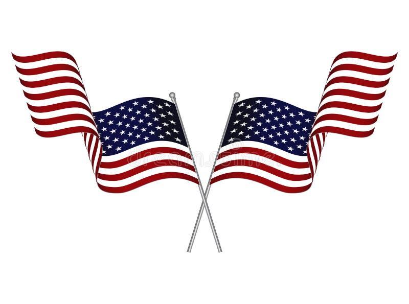 两面横渡的挥动的美国旗子 库存例证