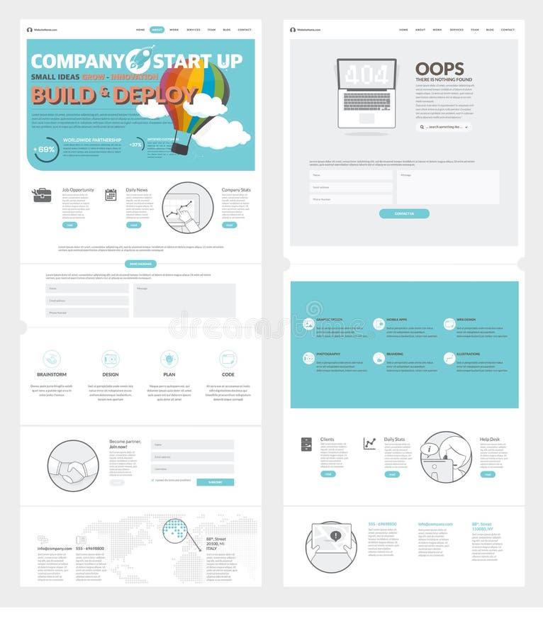 两页网站与概念象和具体化的设计模板商业公司股份单的 向量例证