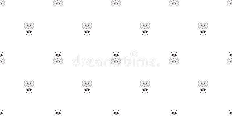 两骨交叉图形无缝的样式海盗万圣节头骨骨头毒物鬼魂围巾被隔绝的瓦片背景重复墙纸 皇族释放例证