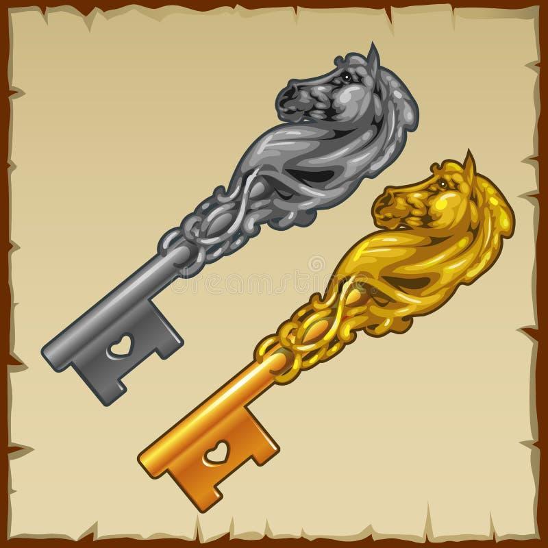 两魔术与心脏的银和金子钥匙 库存例证