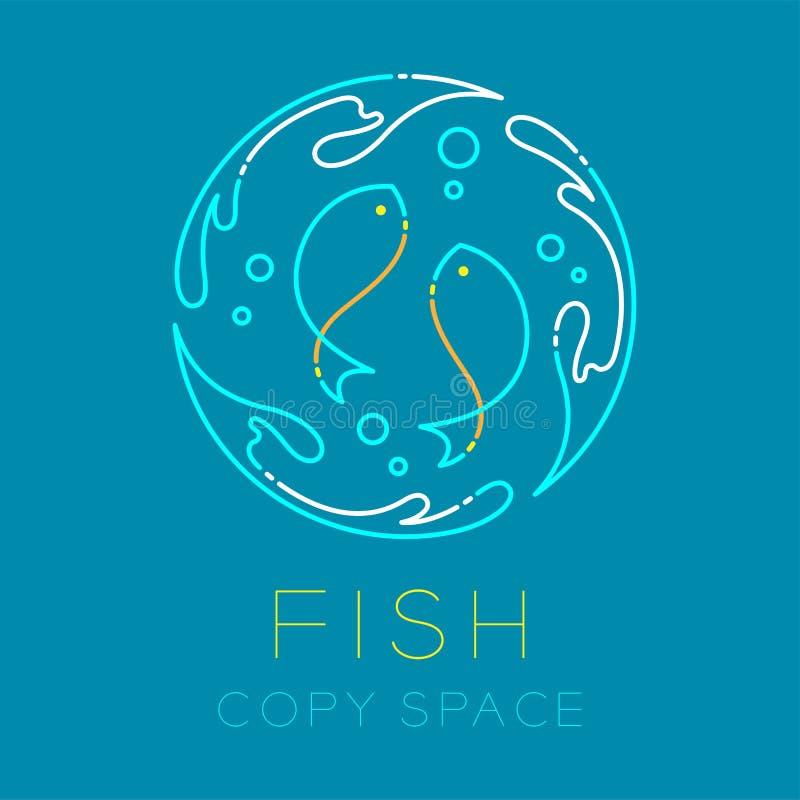 两鱼或双鱼座,水飞溅圈子和气泡商标象 库存例证