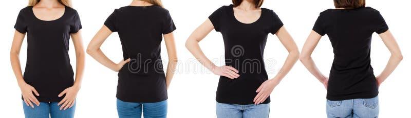 两黑T恤杉的妇女:播种的图象在前后视图,T恤杉集合,大模型T恤杉空白 免版税库存照片