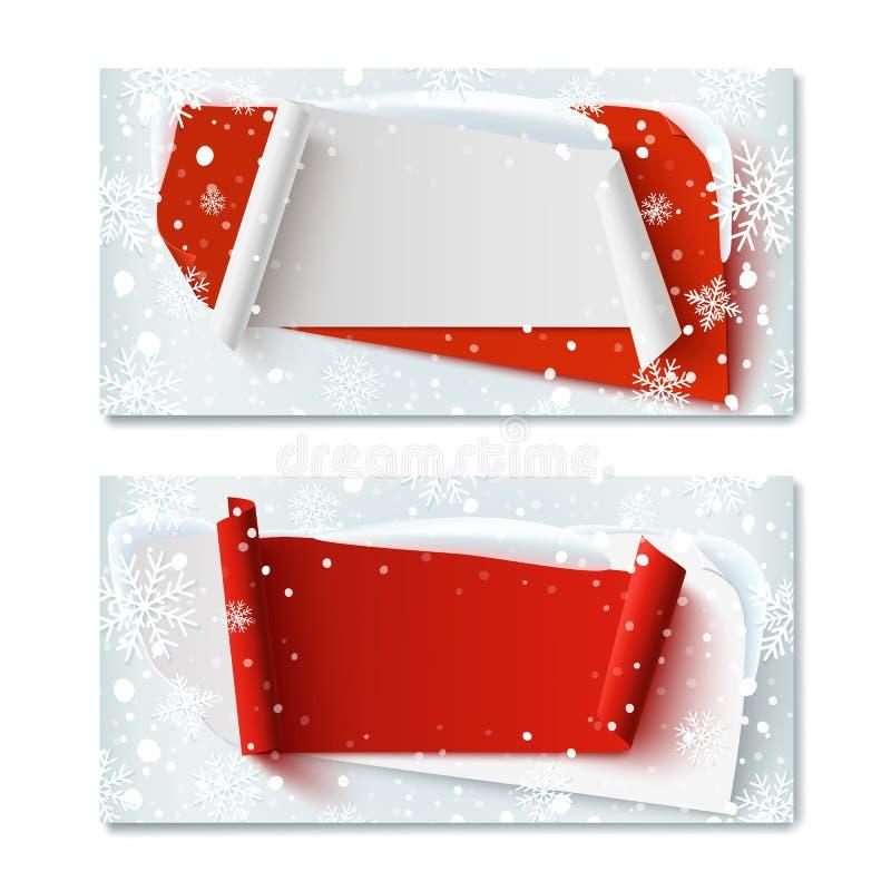 两,空白,圣诞节时间,冬天礼券 库存例证