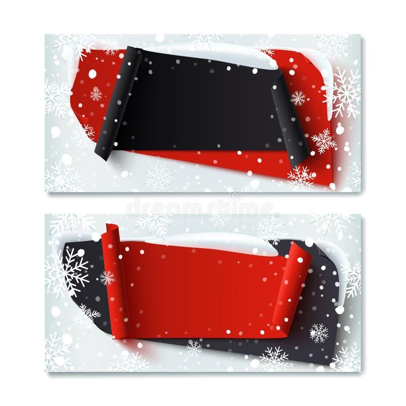 两,空白,黑星期五,冬天礼券 库存例证