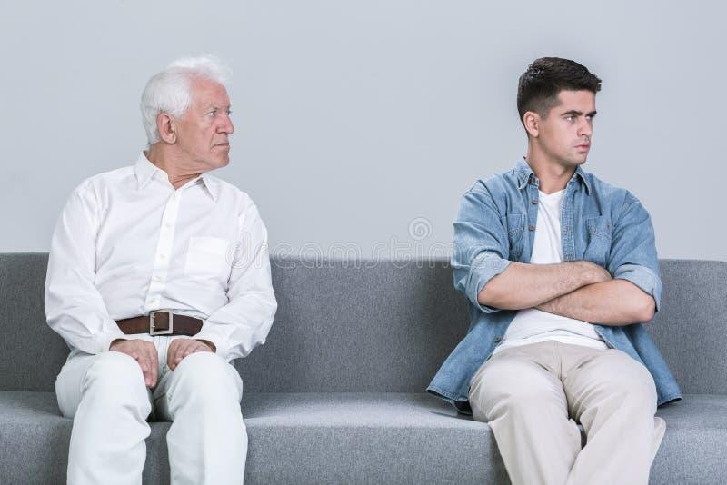 两代之间的家庭冲突 免版税库存图片