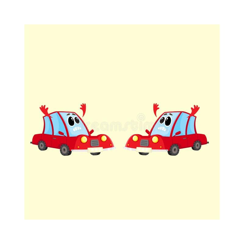 两滑稽的红色汽车,绝对气馁和丧失信心的自动字符 库存例证