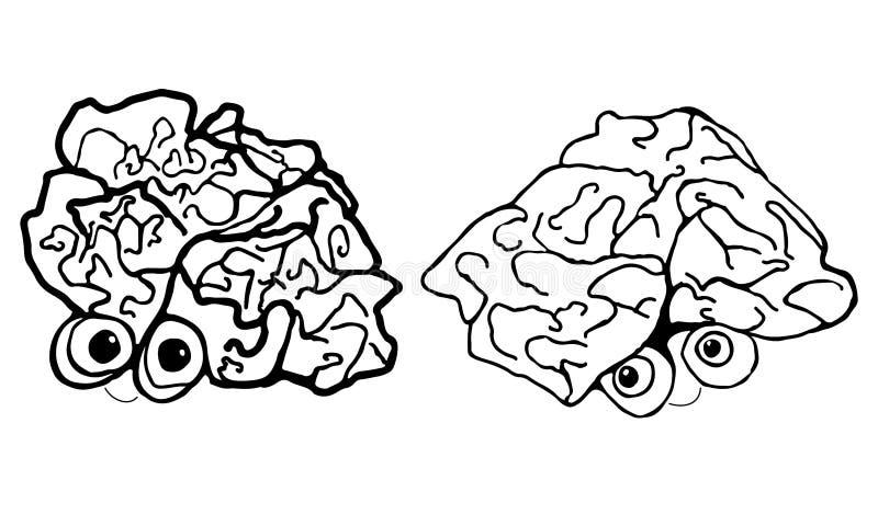 两滑稽,动画片,人脑,隔绝在白色背景 向量例证