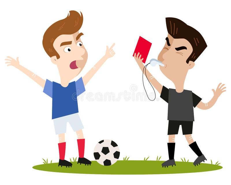 严密的看的动画片橄榄球裁判员吹的口哨,拿着红牌,送抱怨的外野球员 库存例证