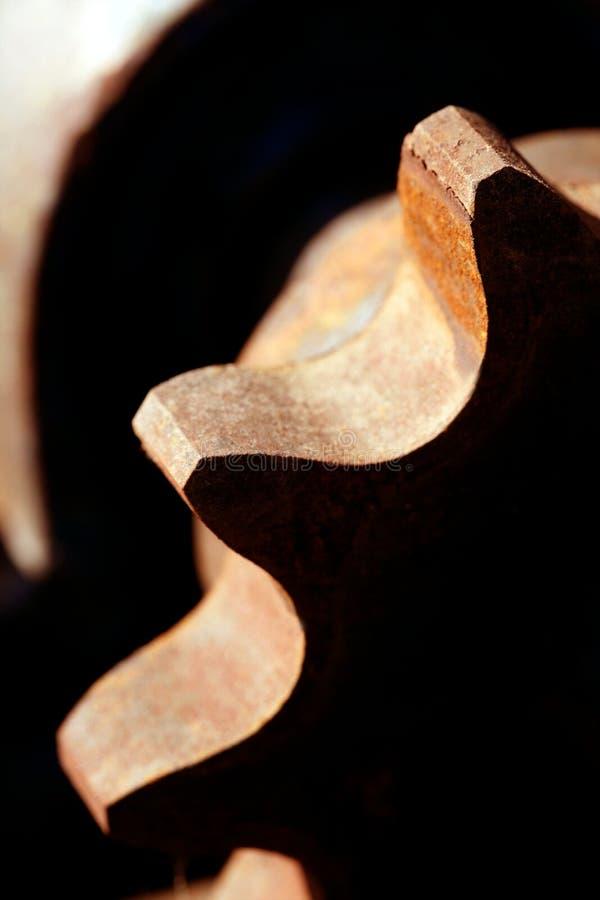 严格齿轮宏观金属生锈的影子 库存照片