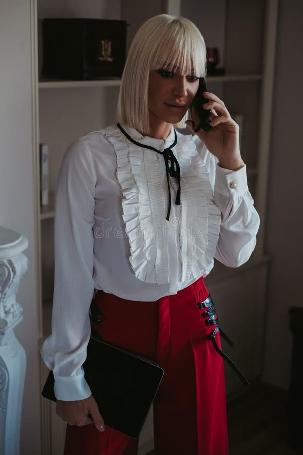 严肃的女实业家谈话在电话在客厅 库存图片