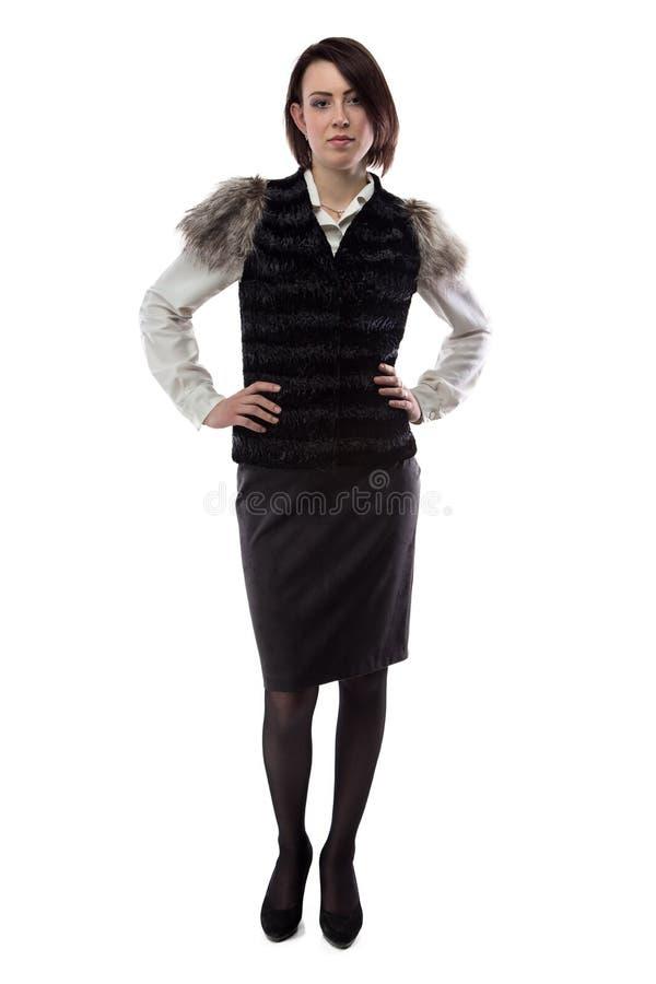 严肃的妇女照片毛皮夹克的 图库摄影