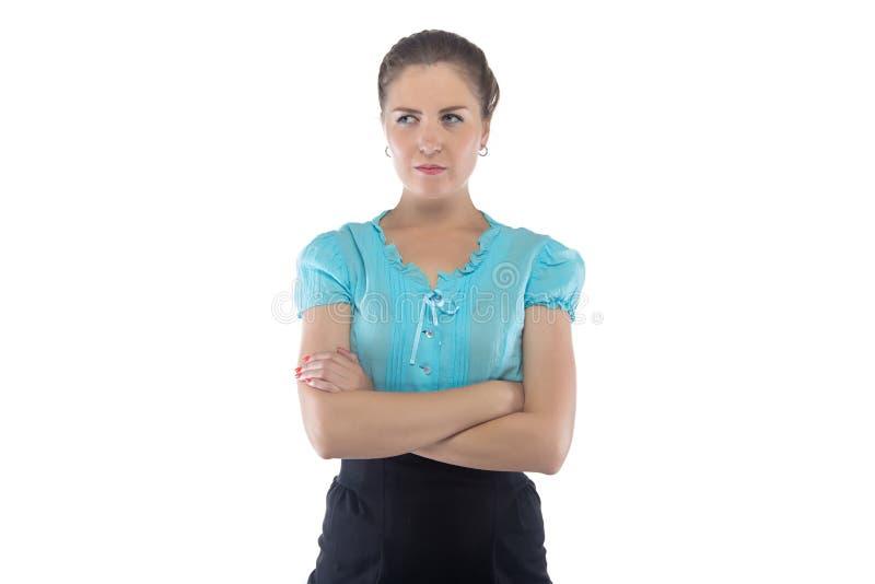 严肃的妇女照片蓝色女衬衫的 免版税库存图片