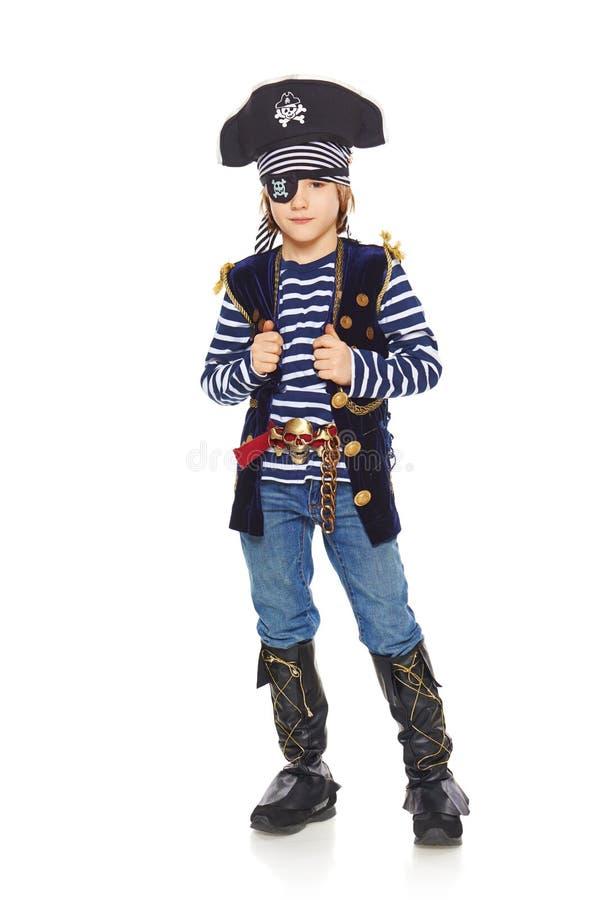 严肃的小男孩海盗 免版税图库摄影