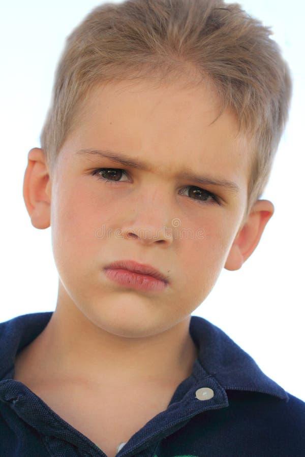 严肃的男孩 免版税库存照片