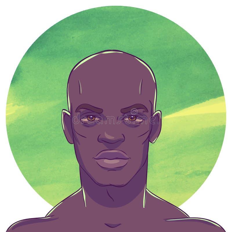 年轻严肃的肌肉秃头非裔美国人的人 皇族释放例证