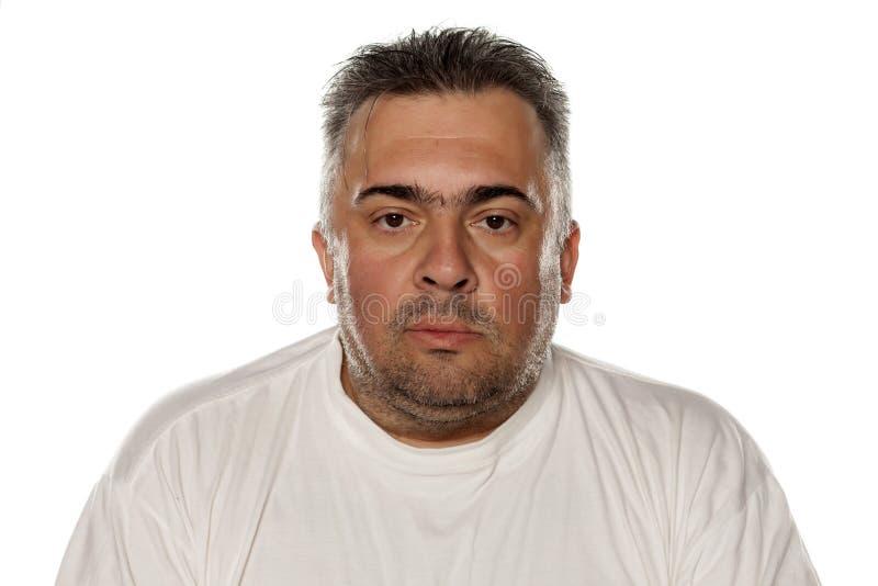 严肃的肥胖人 免版税图库摄影