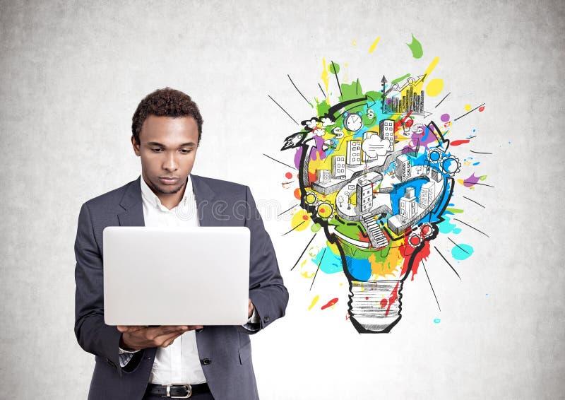 严肃的非裔美国人的人膝上型计算机,企业想法 免版税库存图片
