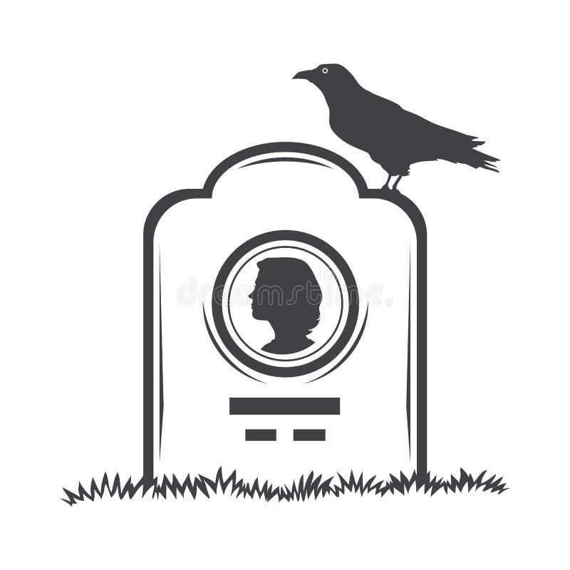 严重墓碑纪念碑 向量例证