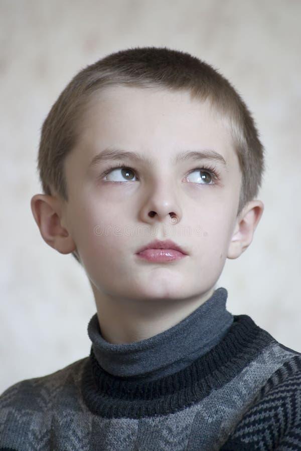 严重男孩的纵向 免版税图库摄影
