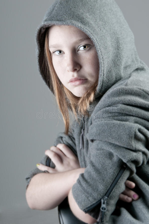 严重的女孩 免版税图库摄影
