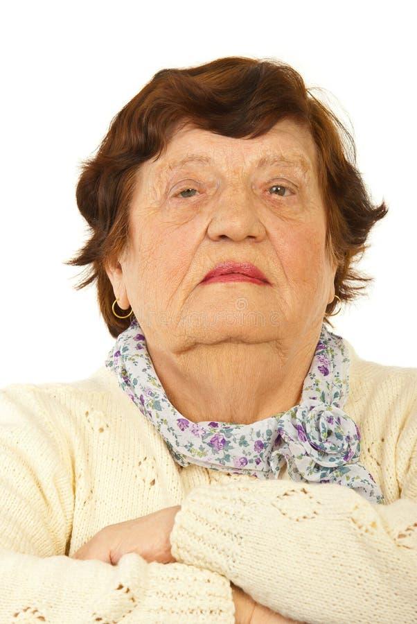 严重的年长妇女纵向  免版税库存图片