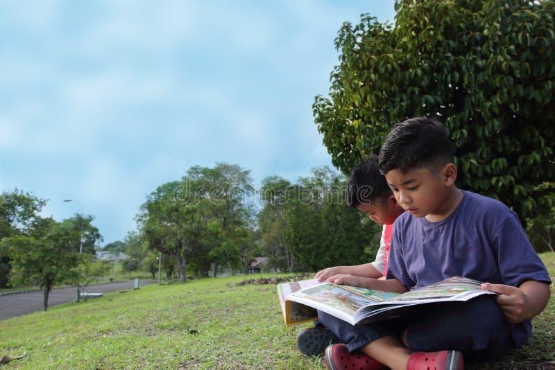 严重读一本书的两个逗人喜爱的男孩在公园 免版税库存图片