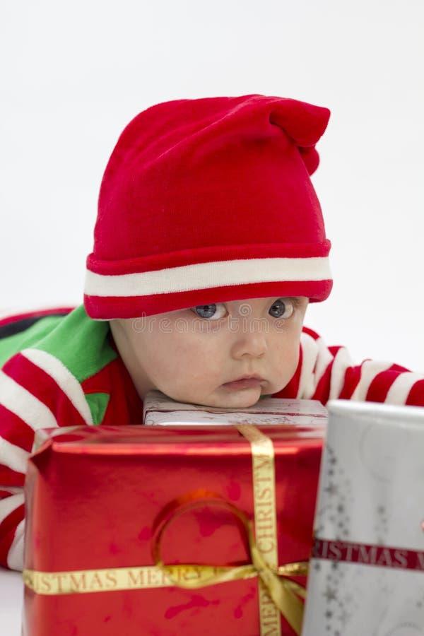 严重首先babys的圣诞节 库存图片