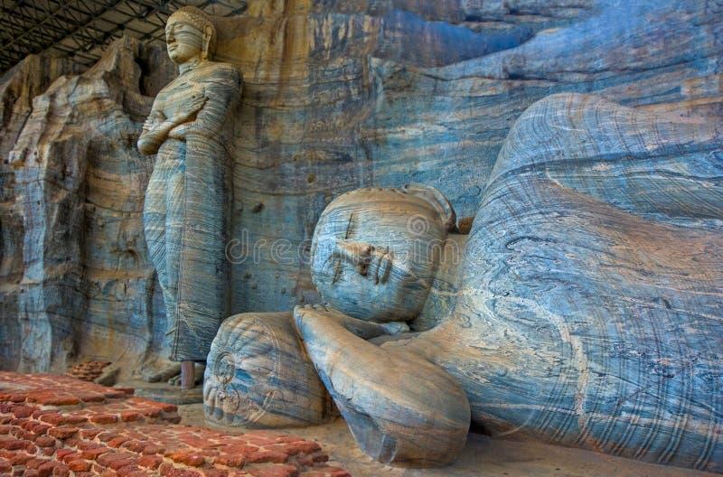 12个世纪Gal Vihara寺庙 免版税库存图片