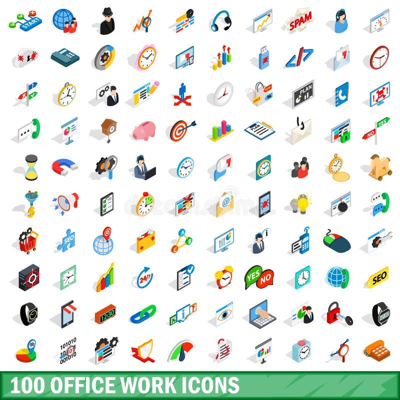 100个事务象设置了,等量3d样式 向量例证