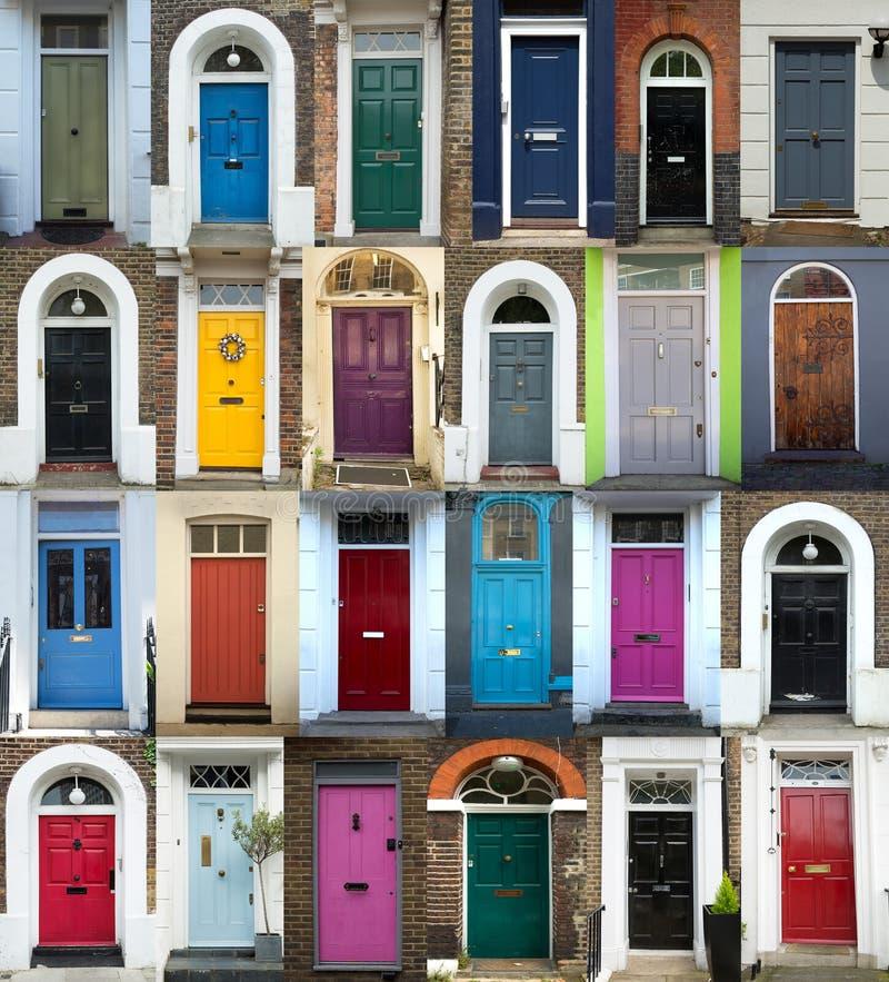 24个五颜六色的门拼贴画在伦敦 库存图片