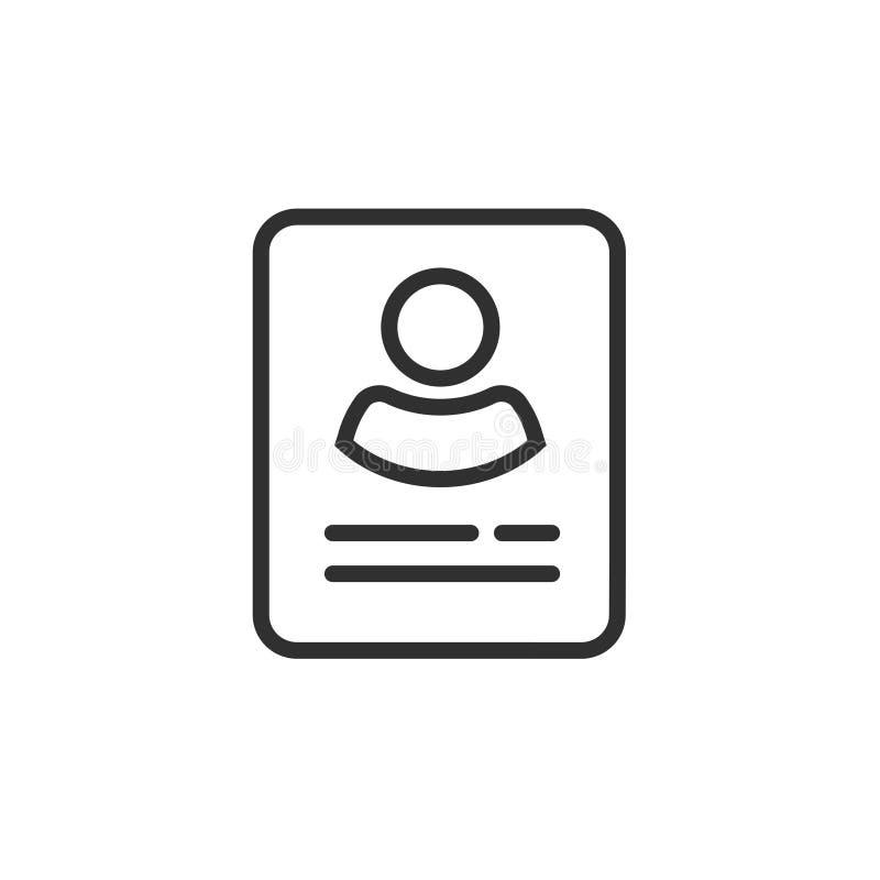 个人信息数据被隔绝的象传染媒介,线概述用户,外形卡片细节标志,我的帐户图表想法 皇族释放例证