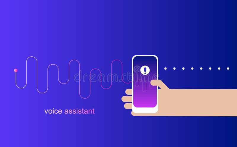 个人助手和语音识别在流动app 聪明的声音 技术人的手的传染媒介例证对负smar 库存例证