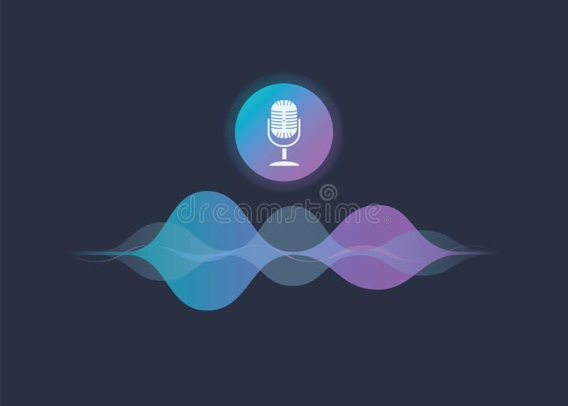 个人助手和语音识别概念梯度导航soundwave聪明的技术的例证 向量例证
